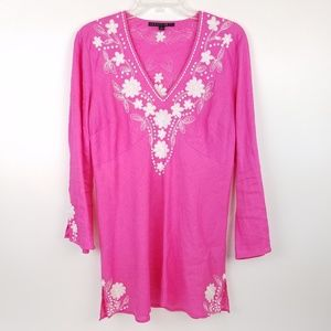 LAFAYETTE 148 Women Linen Tunic Embroidered Beaded